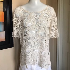 Adiva Crocheted Lace Top Size XL